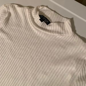 Topshop Ribbed Knit Funnel Neck Top
